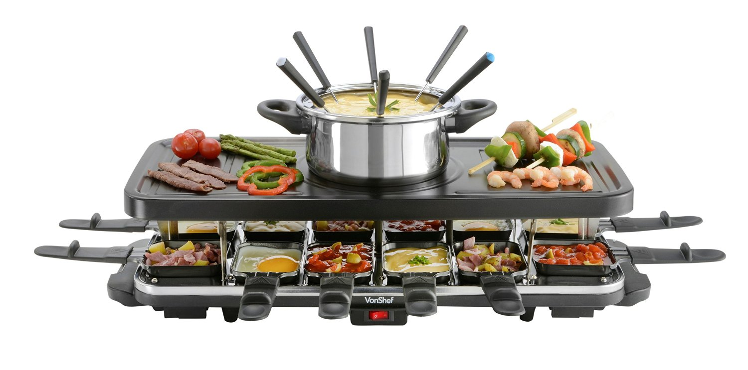 vonshef 12 person raclette grill cooking gizmos. Black Bedroom Furniture Sets. Home Design Ideas
