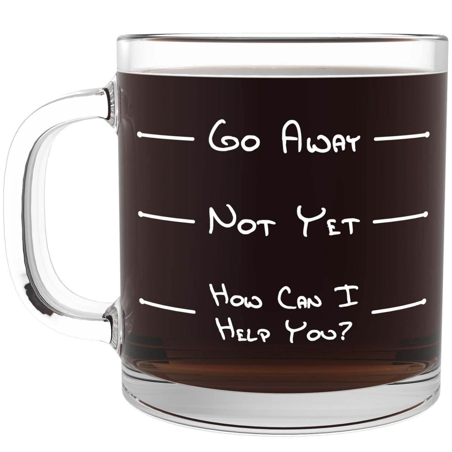 Go Away Glass Coffee Mug Cooking Gizmos