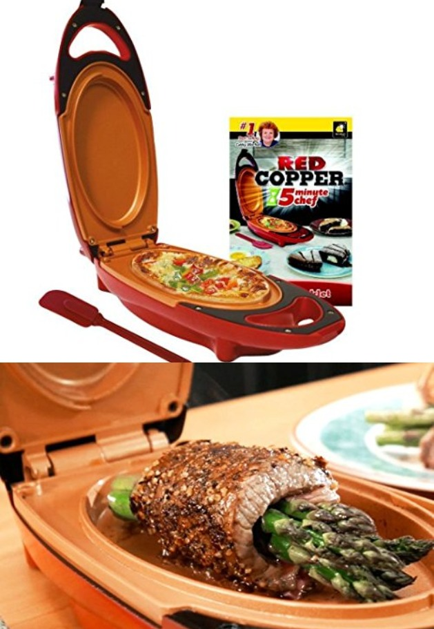 Red Copper 5 Min Chef Frying Pan Cooking Gizmos