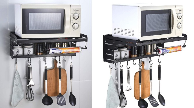 Wall Mounted Shelf Microwave & Spice Rack - Cooking Gizmos