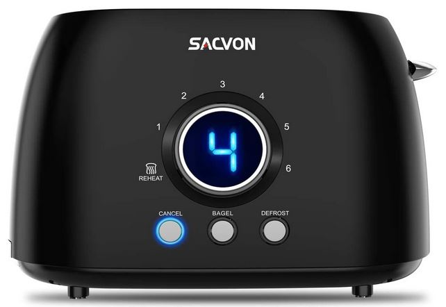 Sacvon 2 Slice Toaster With Led Timer Cooking Gizmos